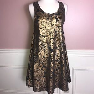 MINKPINK XS Gold and Black A-line Party Dress